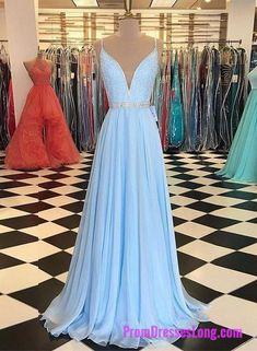 Newest Light Blue A-Line Prom Dress with Beaded Bodice dd879a9ddd0b