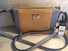 74d1fbffdf Ralph Lauren Leather Straw Percy Crossbody Bag Handbag for sale online