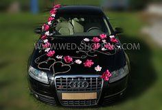 Foto Mariage Kit de decoration de voiture - Dahlias roses et blanches Orchidees