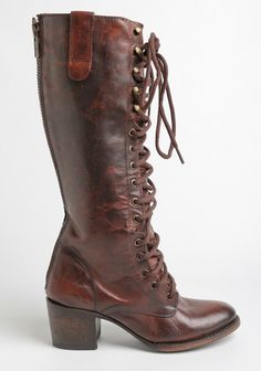 The ultimate rustic must-have, these tall brown leather boots feature a lace-up design at the front and an allover distressed look for a worn-in feel. Finished with an exposed zipper closure do...