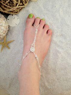 Charitable Kids ~ Frangipani Barefoot Sandals ~ Beach-wedding Crystal Glass Beads High Quality Goods Jewelry & Watches