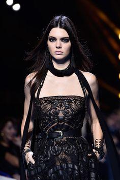 Kendall Jenner walks for Elie Saab during Paris Fashion Week Womenswear Fall/Winter 2016/2017.