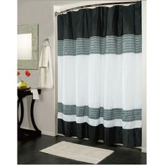Ibiza Striped Sequin Accents Black White Shower Curtain