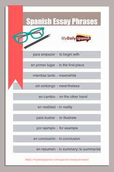 Need to write some Spanish essays? This list of Spanish essay phrases will surel… - Bildung Useful Spanish Phrases, Spanish Notes, Ap Spanish, Spanish Lessons, Spanish Class, Spanish Lesson Plans, French Lessons, Spanish Worksheets, Spanish Vocabulary