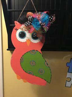 """Owl door hanger 23"""" x 16"""" Made from 1/4"""" plywood"""