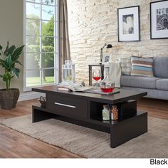 Complete your living room decor with this stylish coffee table from Furniture of America. This table features a unique cut out design and single drawer that can be accessed from both sides. Stylish Coffee Table, Black Coffee Tables, Modern Coffee Tables, Contemporary Coffee Table, Contemporary Decor, Living Room Decor, Living Spaces, Dining Room, Sofa End Tables