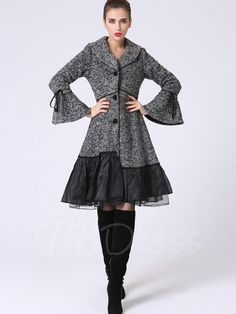 #TbDress - #TBDress Single-Breasted Flare Sleeve Wesh Patchwork Fit Womens Overcoat - AdoreWe.com