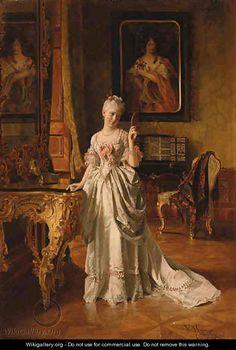 The Looking Glass by Johann Hamza (Austrian 1850-1927)