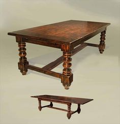 Dining table in late Tudor style (mid 1500's) . Tables were usually made of oak, rectangular-shaped, and made of a framed construction in contrast to trestle dining tables. They were normally supported at the corners by carved or turned legs connected by stretchers near the ground.