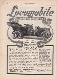 1907 Locomobile Co of America Bridgeport Ct Ad 1908 Type Model I Car $4750 | eBay