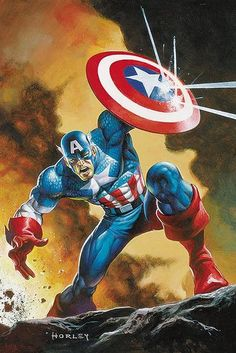 Captain America by Horley Comic Book Characters, Comic Book Heroes, Marvel Characters, Comic Books Art, Comic Art, Captain America Pictures, Captain America Art, Marvel Comics Art, Marvel Heroes
