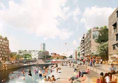 ADEPT and Mandaworks Design Masterplan for Stockholm's Royal Seaport,Waterfront terraces. Image Courtesy of ADEPT/Mandaworks