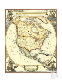 Nautical Map of North America Art Print by Vision Studio. Save up to 40% for a limited time at Art.com.
