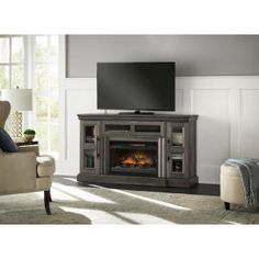 Home Decorators Collection Abigail Media Console Infrared Electric Fireplace in Gray Aged Oak Finish - - The Home Depot Fireplace Console, Fireplace Hearth, Fireplace Inserts, Living Room With Fireplace, Electric Fireplace Tv Stand, Electric Fireplaces, Flat Panel Tv, Family Room, Gray