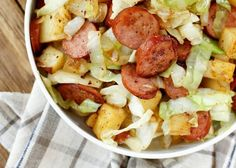 Tender potatoes, fresh cabbage, and salty kielbasa are about all you need to make this quick and easy flavor-filled dinner. There is never a bite leftover when I make this and my kids ask for it often. As I (summer roast recipes) Potato Kielbasa Skillet, Kielbasa And Potatoes, Cabbage And Potatoes, Skillet Potatoes, Cabbage Recipes, Potato Recipes, Pork Recipes, Cooking Recipes, Healthy Recipes