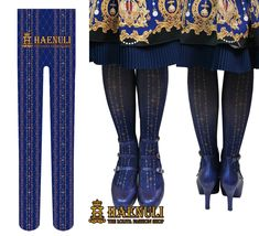 Royal Crown tights (2015) in blue by Haneuli