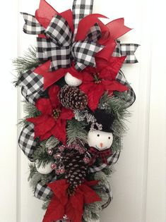 Christmas Swag / Xmas Red and White Swag / Door Christmas image 6 Christmas Door Wreaths, Christmas Swags, Christmas Lanterns, Christmas Scenes, Plaid Christmas, Holiday Wreaths, Handmade Christmas, Christmas Crafts, Christmas Ornaments