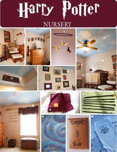 DIY Harry Potter Nursery for children's first bedroom. Raise them to be a harry potter geek!  i think my daughter would like most of this for her first dorm room ...