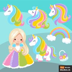 Unicorn Clipart Rainbow unicorns and little girls. Summer graphics, party printables, digitized embroidery, planner stickers, characters by MUJKA on Etsy Unicorn Birthday Parties, Unicorn Party, Planner Stickers, Cute Rainbow Unicorn, Unicorn Princess, Unicorn Pictures, Unicorns And Mermaids, Clip Art, Glitter Graphics