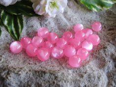 20 Resin Perlen rosa, pink 8 mm, Schmuck mit Perlen basteln, Acrylperlen
