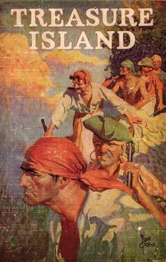Treasure Island by Robert Louis Stevenson, Cover by Frank Godwin. Books For Boys, I Love Books, Childrens Books, Good Books, Teen Books, Pulp Fiction, Treasure Island Robert Louis Stevenson, Robert Louis Stevenson Books, Treasure Island Book