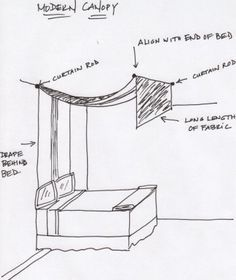 DIY Canopy with 2 curtain rods and curtains. (also try sheer material with white xmas lights)