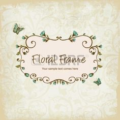 floral frame with Butterly