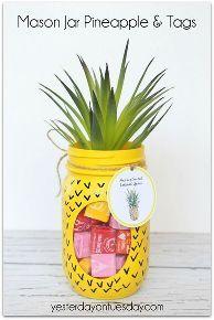 pineapple mason jar, crafts, mason jars, repurposing upcycling
