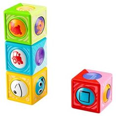 The Fisher Price Roller Blocks - Assortment are four themed blocks for baby with an extra fun surprise - rollerballs with pictures that spin around inside.