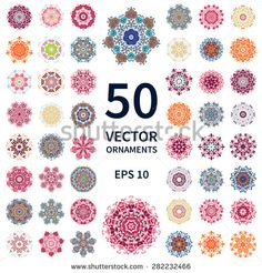 Vector ornaments set. Round floral patterns collection. Hand drawn decorative elements. Mandala. - stock vector