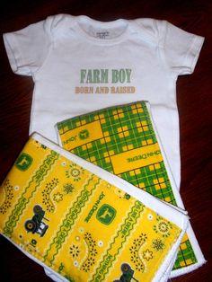 Baby Boy Burp Cloths and Onesie Set - Farm Boy - PICK YOUR PRINTS. $13.00, via Etsy....