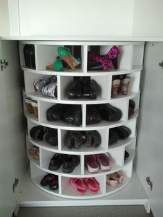 Lazy Susan for shoes...so cool!