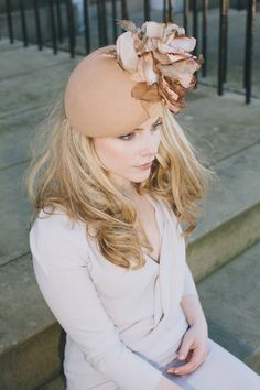 Elegant felt and double silk flower beret by RoseYoungMillinery ab3a660c39f