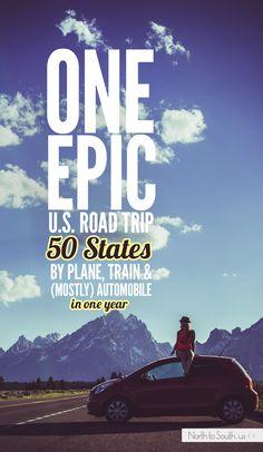 One Epic U. Road Trip: 50 States by Plane, Train and (mostly) Automobile By Plane, Us Road Trip, 50 States, Travel Quotes, Time Travel, Travel Style, Trip Planning, Travel Destinations, Globe
