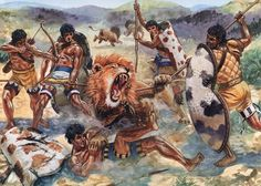 """Mycenean warriors hunting lions in Argolis, 15th century BC"", Giuseppe Rava"