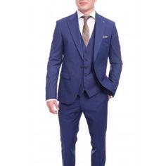6b2b07347b05 Cemden Slim Fit Solid Navy Blue One Button Three Piece Suit With Peak  Lapels 3 Piece
