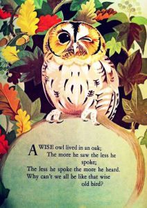 A WISE OLD OWL Mother Goose Nursery Rhyme Illustrated by Janet and Anne Johnstone