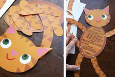 Cat themed party invitations with template from Heidi Kenney