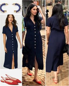 """HRH The Duchess of Sussex on Instagram: """"The Duchess of Sussex gave us a beautiful combination with her new Wilfred Shirt Dress Pure Indigo by Aritzia of $148 and The Editor…"""" Estilo Meghan Markle, Meghan Markle Style, Meghan Markle Outfits, Sussex, Kate And Meghan, Prinz Harry, Princess Meghan, Prince Harry And Megan, Princesa Diana"""