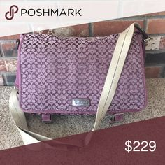 """Coach laptop bag lavender purple Absolutely beautiful excellent used condition lavender purple coach laptop bag in signature monogram Canvas with purple leather trim and adjustable strap cross body. 18"""" x 12.5"""" x 4.5"""" PLM8833 Coach Bags Laptop Bags"""