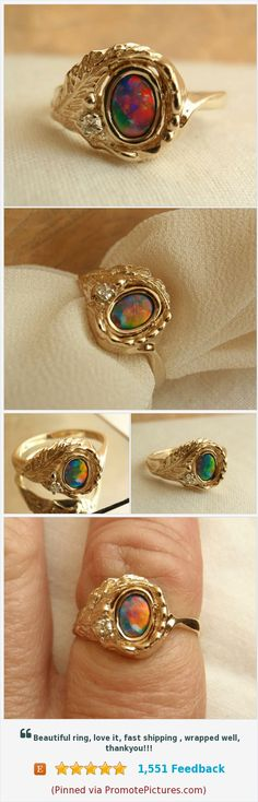 Boulder Opal Ring 14K Gold Diamond Accent #OpalRing #ArtisanMade #diamond https://www.etsy.com/cutterstone/listing/544217128/boulder-opal-ring-fiery-14k-yellow-gold?ref=shop_home_active_2  (Pinned using https://PromotePictures.com)