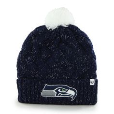 '47 Brand Seattle Seahawks Womens College Navy Fiona Cuff With Pom Knit Beanie