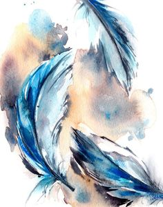Feathers Watercolor Painting Art Print Fine Art Print from Watercolor Painting Modern Watercolour Art Color theme: blue  Professional quality art