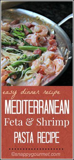 Mediterranean Feta & Shrimp Pasta Recipe   snappygourmet.com #pasta #recipe