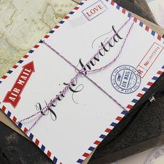 Vintage Travel Postcard Wedding Invitation (Air Mail)