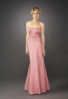 Cheap mermaid sweetheart floor length taffeta appliques pink Prom Dress