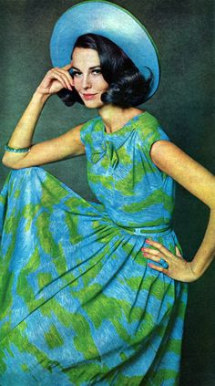 1960's Fashion vintage style blue green summer day dress sleeveless bow front floral hat color photo 60s print ad model
