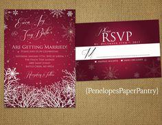 Elegant Rustic Winter Wedding Invitation by PenelopesPaperPantry