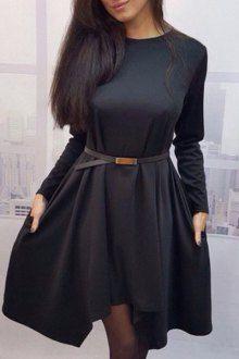 High Low Hem Round Collar Pure Color Dress