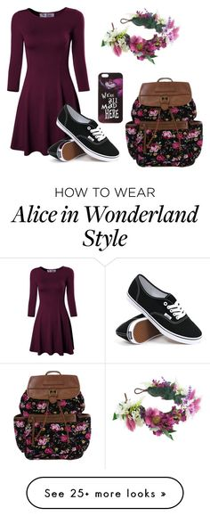 """We're all mad here"" by smilingunicorn on Polyvore featuring Vans, Disney and Rock 'N Rose"